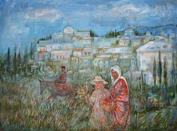Santorini Italy 18x24 Original Painting - Edna Hibel