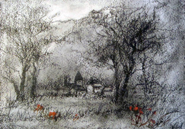 Countryside 9x7  Original Painting by Edna Hibel