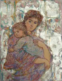 Mother and Baby on Silk 9x7 Original Painting - Edna Hibel