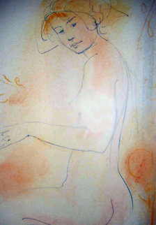 Sitting Peach and Blue Nude Watercolor 14x10 Original Painting - Edna Hibel