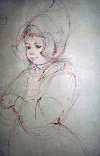 Dutch Girl Watercolor 14x9 Watercolor - Edna Hibel