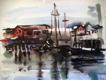 Gloucester Boats Watercolor 14x9 Watercolor - Edna Hibel