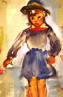 Pretty Girl Watercolor 1927 13x7 Watercolor - Edna Hibel