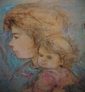 Heddi and Children 1974 25x16 Works on Paper (not prints) - Edna Hibel