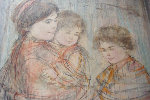 Mother and Two Boys 1974 22x32 Original Painting - Edna Hibel