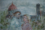 Lovers of Florence 1974 27x34 Original Painting - Edna Hibel