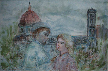 Lovers of Florence 1974 27x34 Original Painting by Edna Hibel