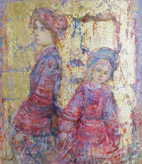 Two Young Girls Dutch Attire 1980 25x23 Original Painting by Edna Hibel