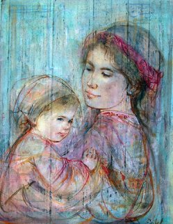 Mother Holding Child 18x15 Original Painting - Edna Hibel