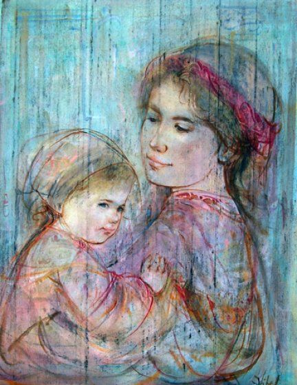 Mother Holding Child 18x15 Original Painting by Edna Hibel