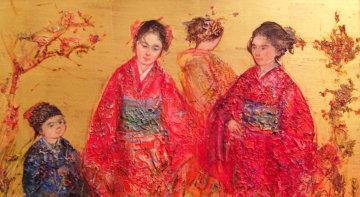 Untitled Painting (Asian Women) 1973 9x13 Original Painting - Edna Hibel