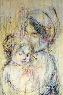 Snuggling Mother And Child 37x26 Original Painting by Edna Hibel