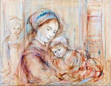 Mother And Children 37x45 Super Huge Original Painting - Edna Hibel