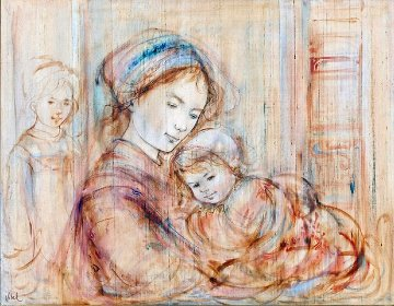 Mother And Children 37x45 Original Painting by Edna Hibel