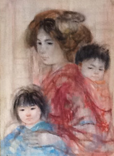 Japanese Mother And Daughter 1967 22x30  Original Painting by Edna Hibel