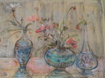 3 Vases Mixed Media Unique 1973 21x25 Works on Paper (not prints) - Edna Hibel