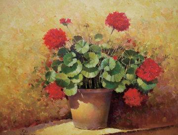 Geranios 50x60 Huge Original Painting - Jose Higuera