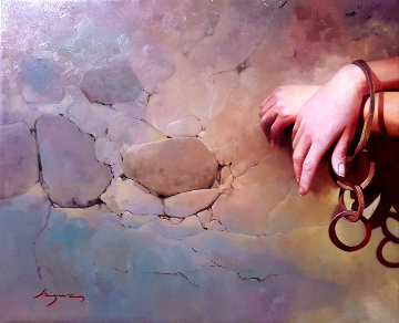 Prisoner of Her Own Wishes 2017 25x31 Original Painting - Jose Higuera
