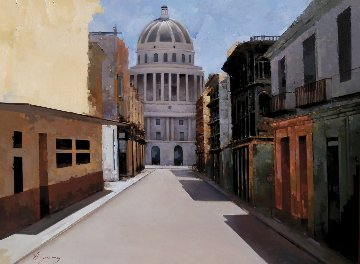 Camino Al Capitolio 2013 28x36 Havana Cuba Original Painting - Jose Higuera