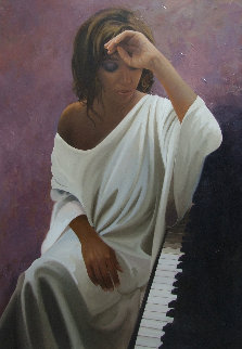Melancholy Woman 2014 45x31 Original Painting by Jose Higuera