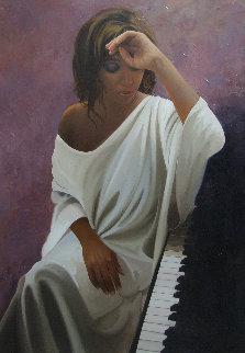 Melancholy Woman 2014 45x31 Huge Original Painting - Jose Higuera