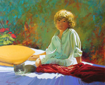 Jose And His Friend 2012  32x39 Original Painting - Jose Higuera