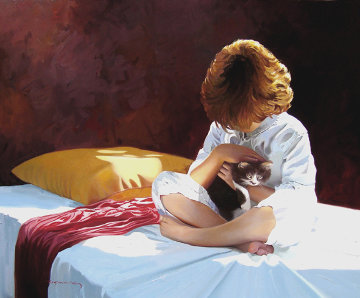 Ternura 2012 32x39 Original Painting - Jose Higuera