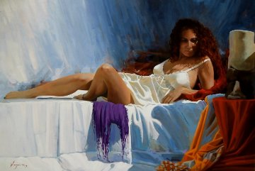 Woman With Red Hair II 2013 32x46 Original Painting - Jose Higuera