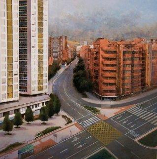 Bilbao, Spain 2012 33x32 Original Painting - Jose Higuera