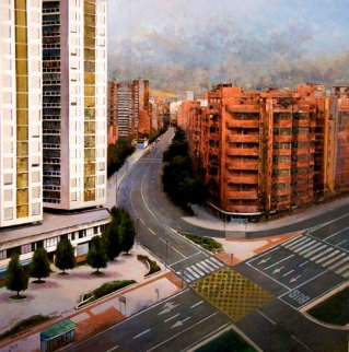 Bilbao, Spain 2012 33x32 Original Painting - Jose Higuera