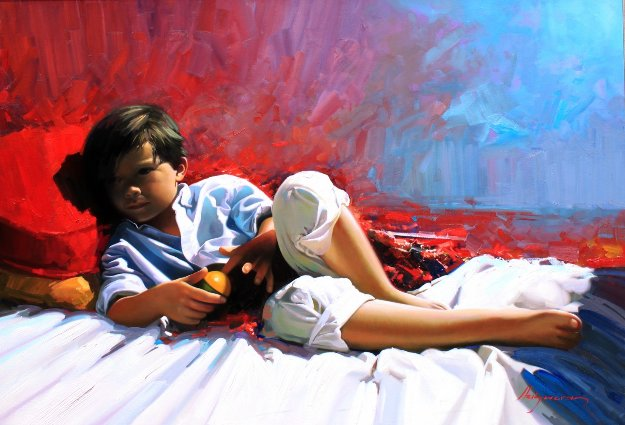 Rest 2014 31x45 Original Painting by Jose Higuera