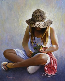 Three Flowers 2013 39x32 Original Painting - Jose Higuera