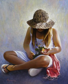 Three Flowers 2014 39x32 Original Painting by Jose Higuera