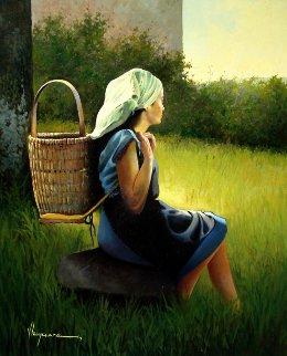 Pasiega   2012 32x26 Original Painting - Jose Higuera