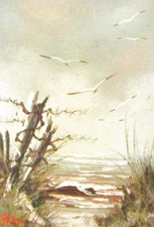 Untitled (Beach Landscape) 14x12 Original Painting - Michael Hill