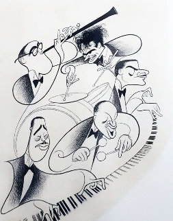 Jazz! - Benny Goodman, Gene Krupa, Teddy Wilson, Lionel Hampton, and Duke Ellington  Limited Edition Print - Al Hirschfeld