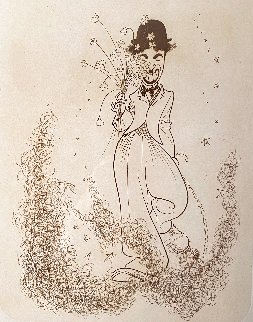 Charlie Chaplin Walking In Clouds Holding Flowers 1975 Limited Edition Print - Al Hirschfeld