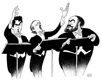 Three Tenors Encore  Limited Edition Print - Al Hirschfeld