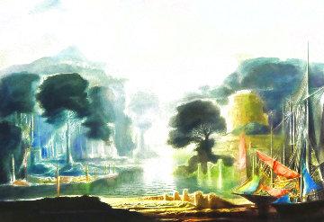 River Scene Watercolor  1967 21x27 Watercolor - Harold Hitchcock