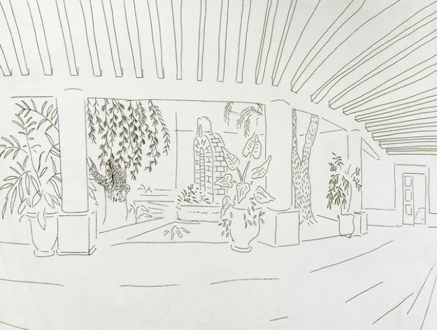 Mexican Hotel Garden 1984 Limited Edition Print by David Hockney