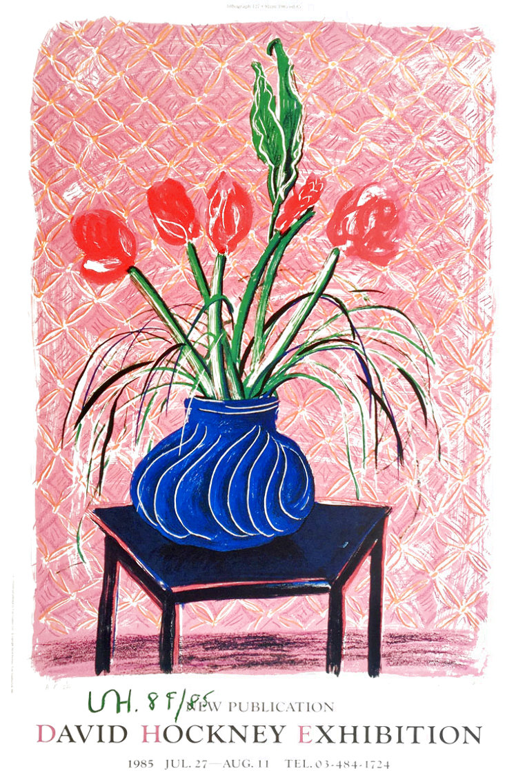 'Amaryllis in Vase' Hand Signed Exhibition Poster 1985 HS Limited Edition Print by David Hockney