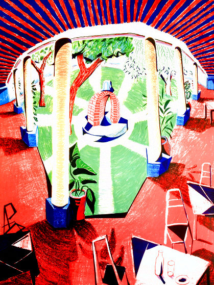 Views of Hotel Well III Exhibition Poster Hand Signed 1986 HS Limited Edition Print by David Hockney