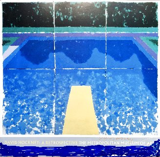 Day Pool With Three Blues Hand Signed Exhibition Poster 1988 HS Limited Edition Print - David Hockney