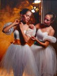 Backstage, Two Dancers 2002 Original Painting - Douglas Hofmann