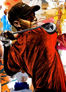 Tiger Woods the Driver 46x33 Original Painting - Stephen Holland
