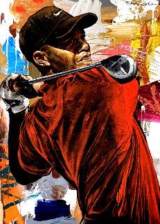Tiger Woods the Driver 46x33 Super Huge  Original Painting - Stephen Holland