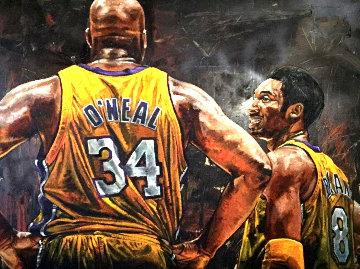Shaq and Kobe 48x60   Original Painting - Stephen Holland