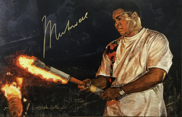 Ali With Torch     Embellished  HS Limited Edition Print by Stephen Holland