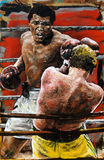 Ali Turns It On - Cassius Clay (Muhammad Ali) 2001 HS 60x38 Oil on Wood Original Painting by Stephen Holland