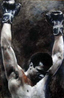 Triumph Muhammad Ali 1994 36x24 HS by Ali Original Painting - Stephen Holland
